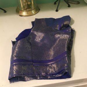 Tops - NWOT blue brocade Silk saree blouse crop top Sz 40